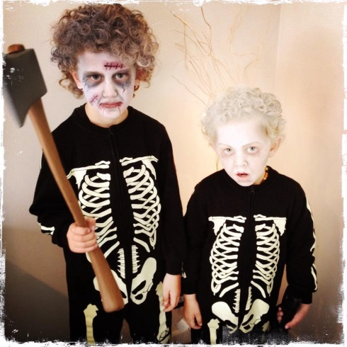 Zombie nephews. Photo by Hayley French at feijoadesigns.